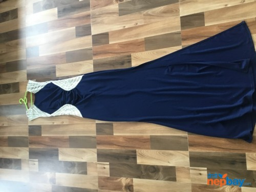 Designer blue dress with slit and sequence top