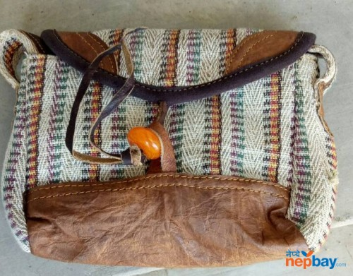 Cotton Bag with leather