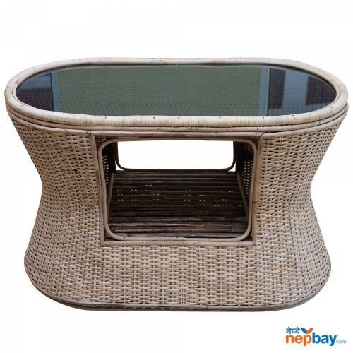 Beth Knitted Table With Glass Top - Indoor & Outdoor Table