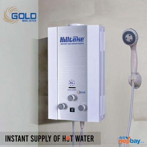 Hilltake GOLD-6L-18N 6 Litre Instant Gas Water Heater (Geyser)- White Gas Geyser