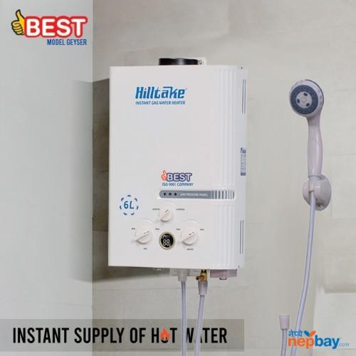 Hilltake BEST-6L-18N 6 Litre Instant Gas Water Heater Geyser - White Gas Geyser