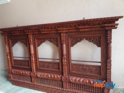 Wooden carved 3 panel window