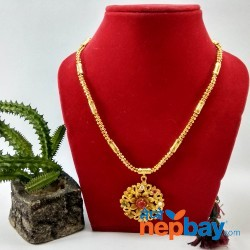 Faux Navratna Stones Embellished Gold Plated Adjustable Necklace