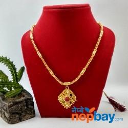 Faux Navratna Stones Embellished Gold Plated Adjustable Necklace