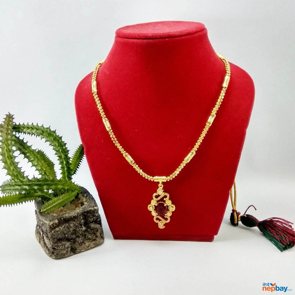Faux Ruby and Stones Embellished Gold Plated Adjustable Necklace