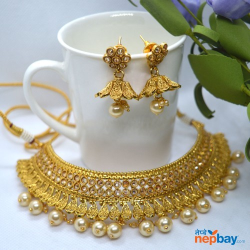 Faux Pearl Drop High Gold Plated Adjustable Choker Style Necklace Set
