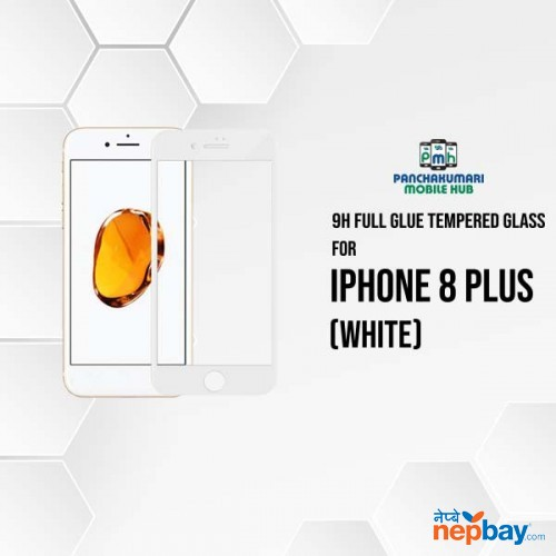9H Full Glue 5D Glass for iPhone 8 Plus White