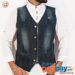 Virjeans Denim (Jeans) Waist Coat For Men (VJC 653)