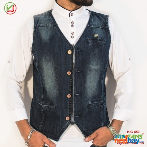 Virjeans Denim (Jeans) Waist Coat For Men (VJC 653)