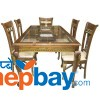 Wooden Carved Dining Table Set With 6 Seats - 3' x 6' Tick With Full Furnishing