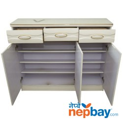 "Three Door White Shoe Rack With Golden Line - Three Drawers On Top 13"" x 48"""