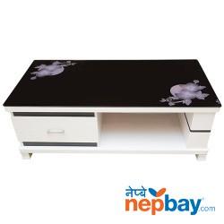 "Dark Black Tea/Coffee Table With White Flower Designed - 1 Drawer - 24"" x 47"""