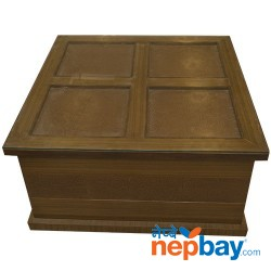 Glass Topped Square Wooden Brown Tea/Coffee Table - 3' x 3'