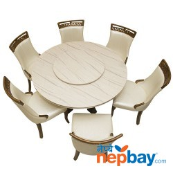 Marble Coated 6 Seater Round Dining Table Set - 51""