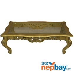 "Golden Sheesham Wood Carved Table With Glass On the Top - 24"" x 47"""