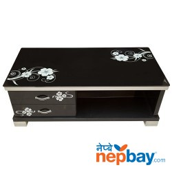 "Dark Black Tea/Coffee Table With White Flower Designed - 2 Drawers - 24"" x 47"""