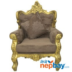 """1 Seater Golden Sheesham Wood Carved Attractive Sofa For Living Room - 24"""" x 29"""""""