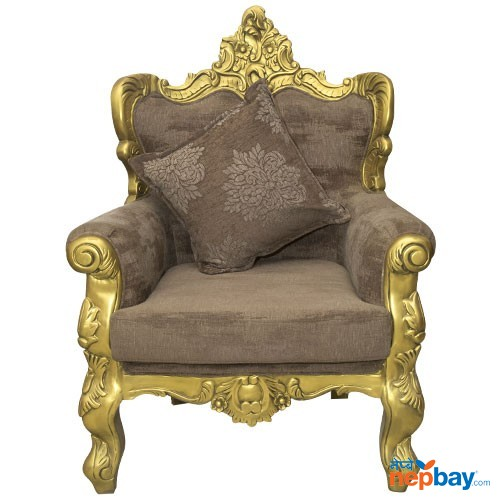 "1 Seater Golden Sheesham Wood Carved Attractive Sofa For Living Room - 24"" x 29"""