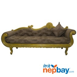 """Golden Sheesham Wood Carved Royal Style Diwan For Living Room 24"""" x 87"""""""