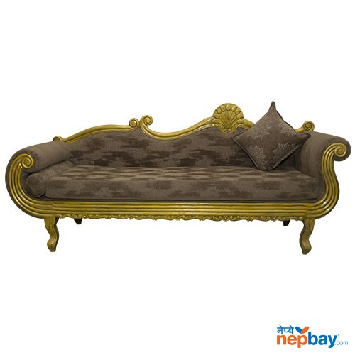 "Golden Sheesham Wood Carved Royal Style Diwan For Living Room 24"" x 87"""