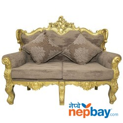 """2 Seater Golden Sheesham Wood Carved Attractive Sofa For Living Room 2 Pcs. - 24"""" x 56"""""""