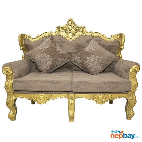 "2 Seater Golden Sheesham Wood Carved Attractive Sofa For Living Room 2 Pcs. - 24"" x 56"""