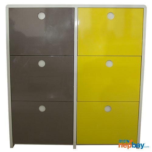 Compressed Wooden 6 Boxes Easy To Use Shoe Rack - Grey & Yellow
