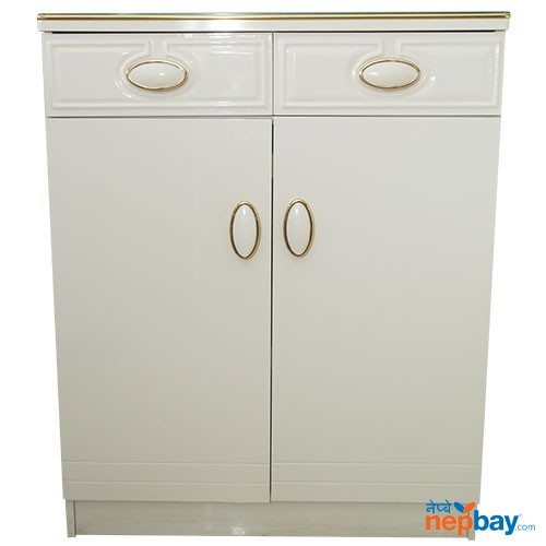 "Two Door White Shoe Rack With Golden Line - Two Drawers On Top 13"" x 32"""