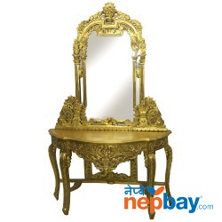 Sheesham Wood Golden Color Carved Console Table With Mirror