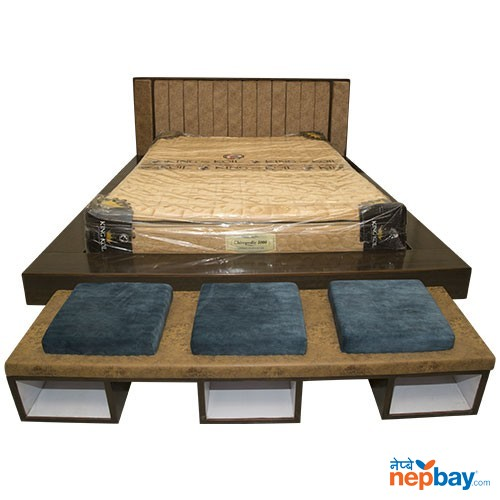 Wooden Bed With Mattress & Couch & 2 Side Table