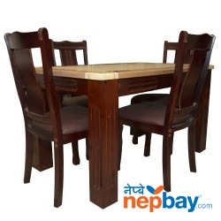 "Plastic Coated 4 Seater Rectangular Dining Table Set - 48"" x 32"""