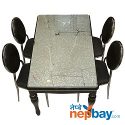 """Glass Topped 4 Seater Black Laminated Wooden Dining Table Set - 32"""" x 48"""""""
