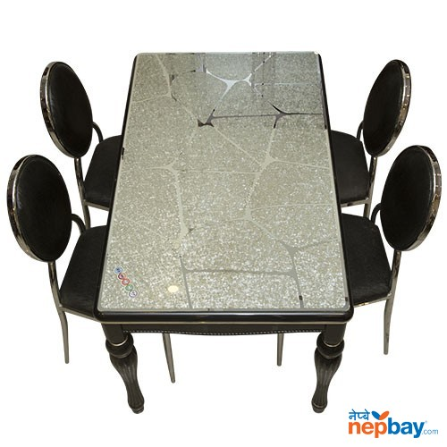 "Glass Topped 4 Seater Black Laminated Wooden Dining Table Set - 32"" x 48"""