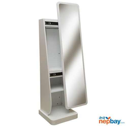 White Mirror With Laminated Wooden Stand & 3 Step Drawer