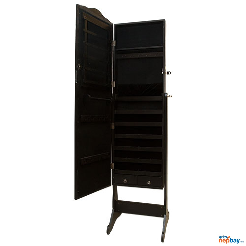 Mirror With Dark Black Laminated Wooden Stand With Shelves