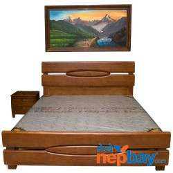 Dark Brown Solid Wooden King Size Bed - 6' x 6.5' With 1 Pc Side Table