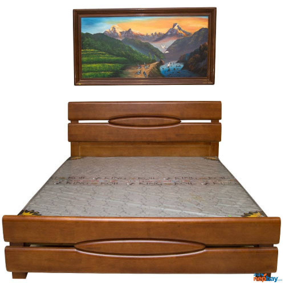 """Wooden Bed 6' x 6.5' With Kingkoil Non Spring Mattress Ortho 5"""" & One Side Table"""