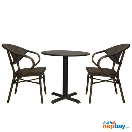 Outdoor Tea/Coffee Table Set - Metal With Plastic Rope