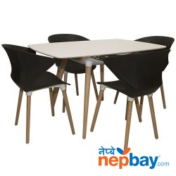 Four Seater Dining Table (Fiber + Wood)