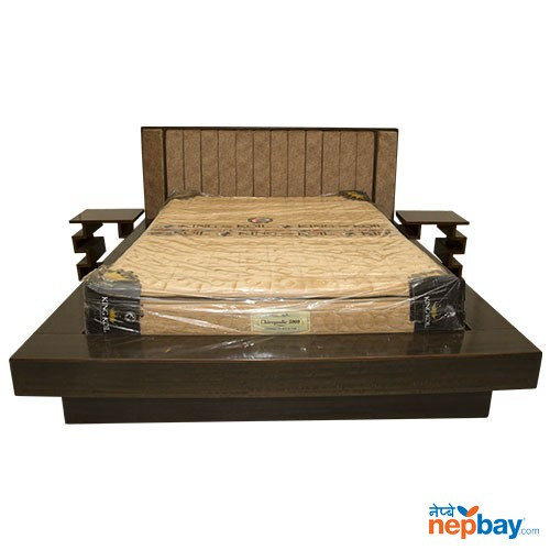 """Wooden Bed With Couch & Two Side Tables - 78"""" x 93"""""""