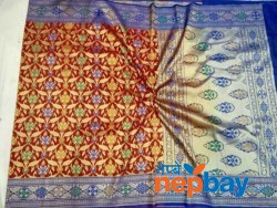 PURE SEMI KATAN DESIGNER SAREE TRADITIONAL WITH DIGITAL BANARAS EMBROIDERY