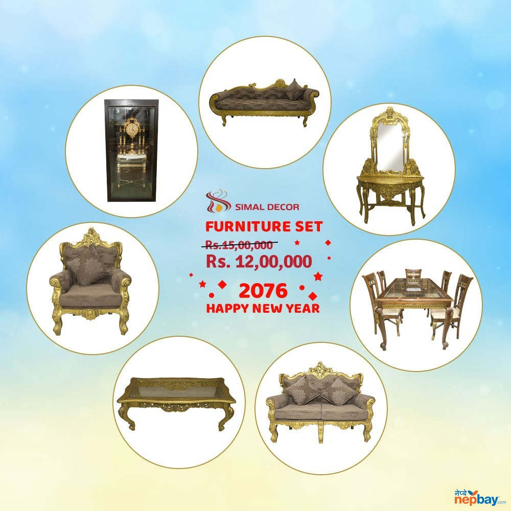 High Quality Wooden Carved 7 In 1 Furniture Set