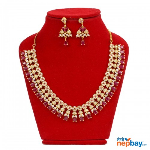 White/Red Stone Embellished Gold Plated Necklace and Earrings Jewelry Set For Women