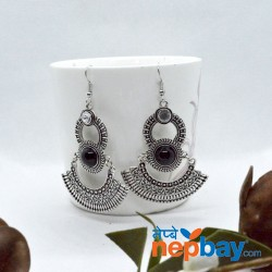 Silver Double Layered Dangler Earrings (70 MM)