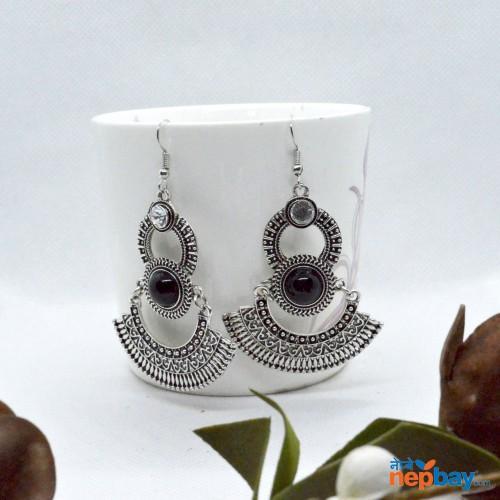 Silver Double Layered Dangler Earrings (70 MM)
