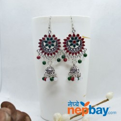 Ethnic Style Chandbaali Designed Pinjada Drop Dangle Earrings (70 MM)