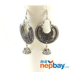 Antique Silver Toned Chandbaali Designed Pinjada Drop Dangle Earrings (65 MM)