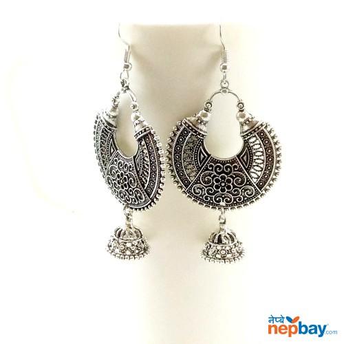 Antique Silver Toned Chandbaali Designed Pinjada Drop Dangle Earrings (65 MM)