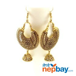 Antique Gold Toned Chandbaali Designed Pinjada Drop Dangle Earrings (65 MM)