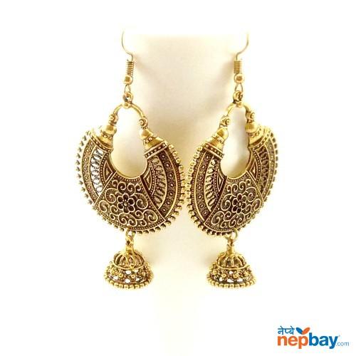 Antique Gold Toned Chandbaali Designed Pinjada Drop Dangle Earrings (65 MM)